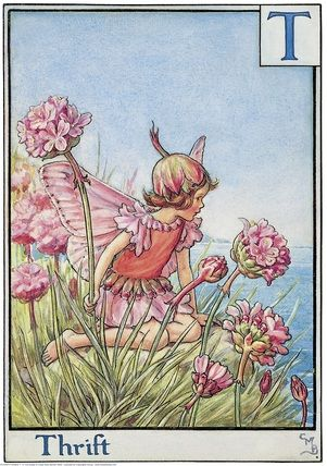 Illustration for the Thrift Fairy from Flower Fairies of the Alphabet. A girl fairy sits on a cliff top facing right looking out to sea. Author / Illustrator Cicely Mary Barker:
