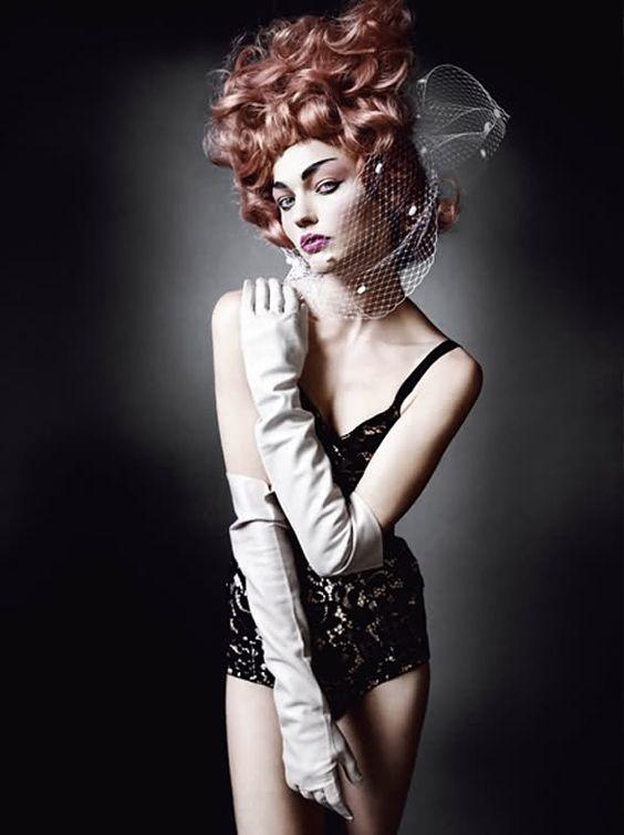 Sasha Pivovarova photographed by Mario Testino for V Magazine #67 in Dolce&Gabbana