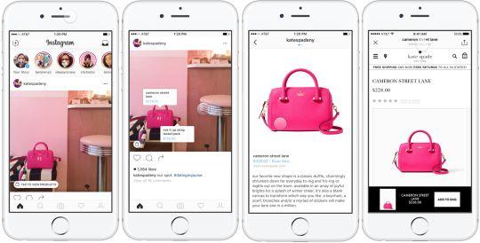 Screens da ferramenta Shopping mostrando as etapas da experiência de compra.