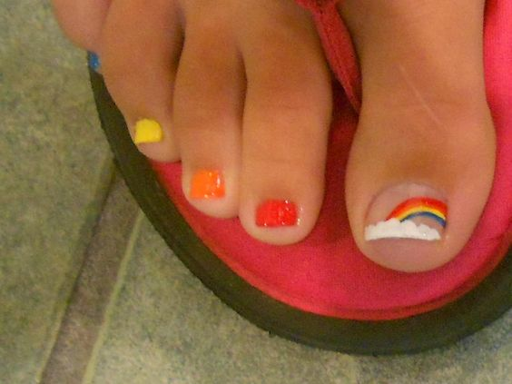 rainbow toe nail art by misty~Xx DanaMichele ❤