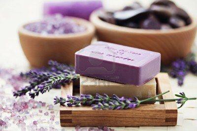 glycerine soap and bowl of lavender bath salt - beauty treatment /shallow DOF/ Stock Photo