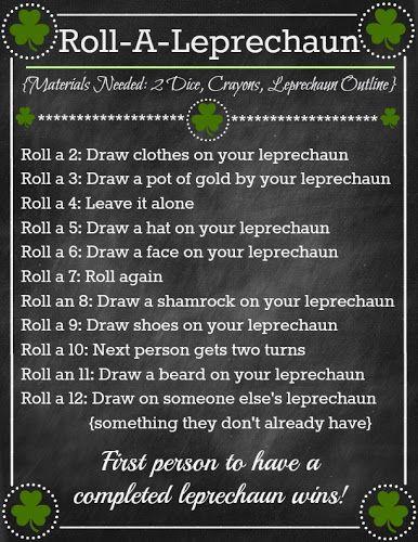 St. Patrick's Day 'Roll A Leprechaun' Game ~ so fun for kids! www.oneshetwoshe.com #kids #stpatricksday  Gemma G