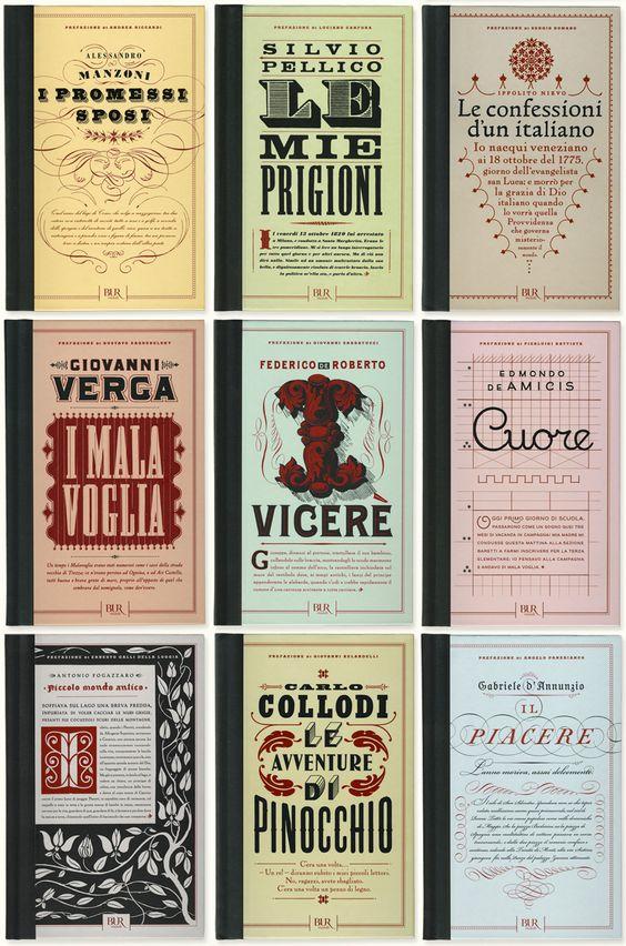 "Louise Fili Ltd book covers for the ""Romanzi d'Italia"" series, ten novels that have shaped Italy."