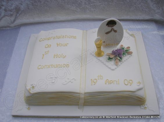 Open book shaped communion cake with hand modelled sugar challis ...