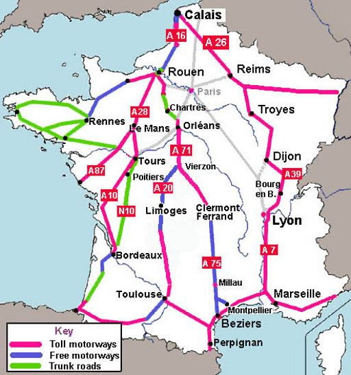 Kaart Tolwegen Frankrijk Reizen Frankrijk Frankrijk Zuid Frankrijk