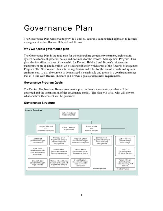 Sample Records Governance Plan - The Sample Records Management - project plan templates word