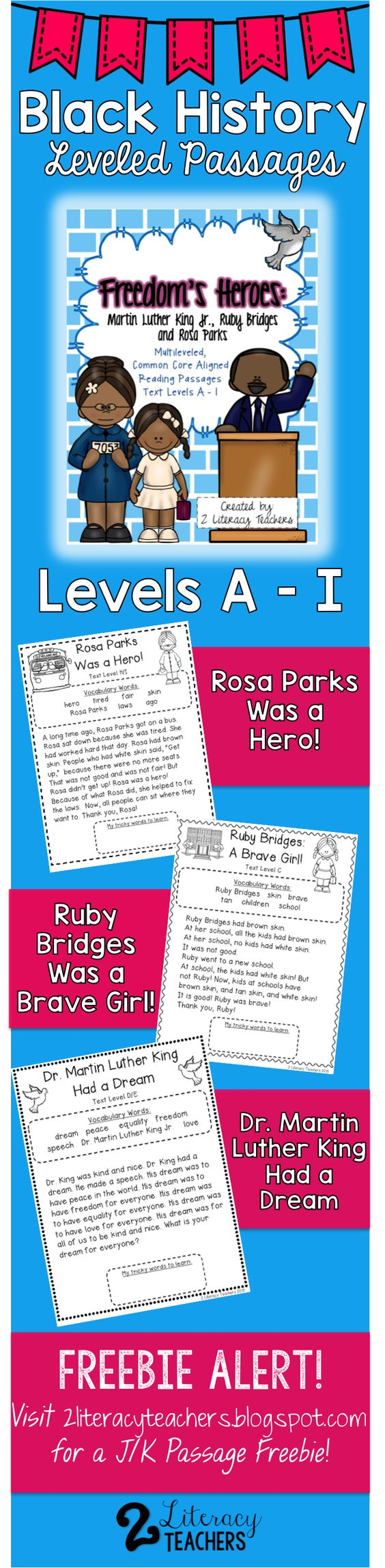 Worksheet Levelled Reading Passages martin luther king jr ruby bridges rosa parks leveled reading black history month and mlk passages each passage has levels a i perfect for guided independent practice