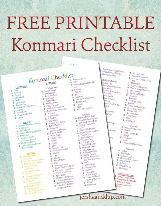 FREE printable Konmari Checklist! Colorful and joy-sparking, hopefully this will help you on your konmari journey!: