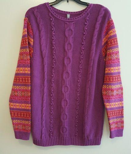 Women's Hanna Andersson Chunky Sweater Purple Nordic Pattern Medium 100% Cotton https://t.co/MSnI38MSGH https://t.co/iHjMKeITOJ
