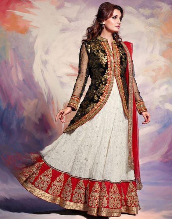 Off White Jacquard Skirt Kameez with Dupatta