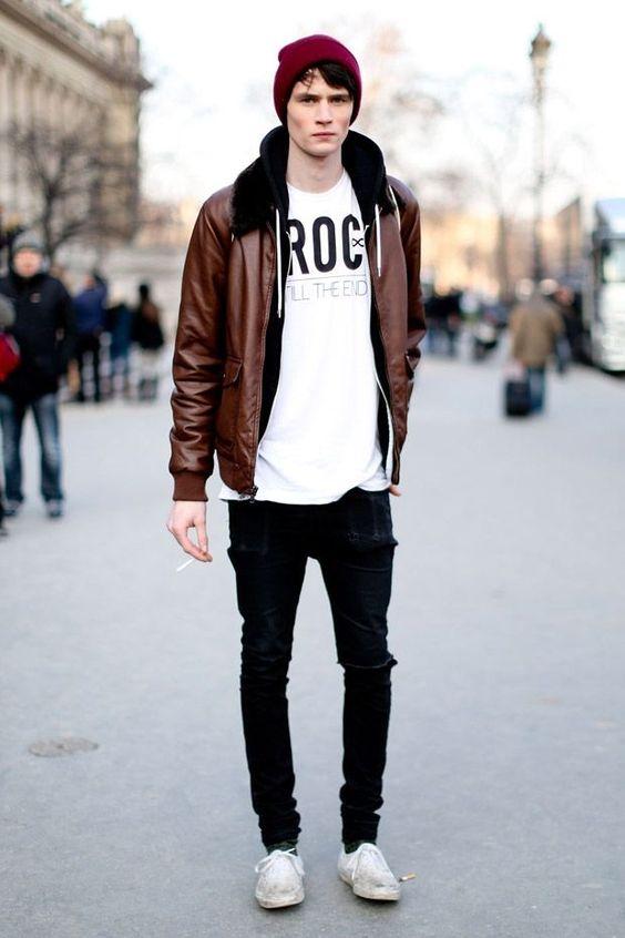 Calça Skinny masculina preta streetstyle: