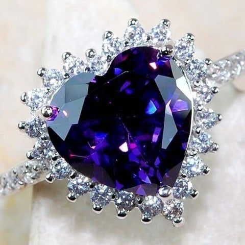 925 Sterling Silver Rhodium-plated Created Opal Amethyst /& CZ Engagement Ring Size 6-8