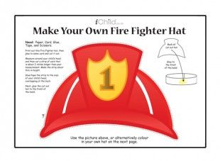 Your child can make their own fire fighter hat with this for Firefighter hat template preschool