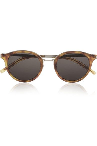 Saint Laurent's sunglasses have been crafted from classic tortoiseshell acetate and silver-tone metal. Finished with gray lenses, this round-frame pair best suits square or angular face shapes. Wear them everywhere from the city to the beach. #SaintLaurent