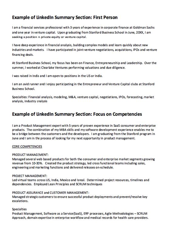 Linkedin Summary Resume Example - Http://Resumesdesign.Com