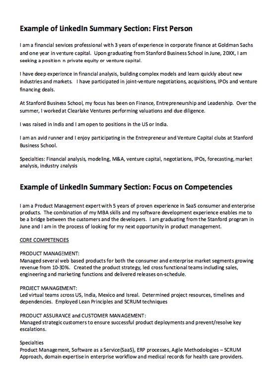 resume summary section