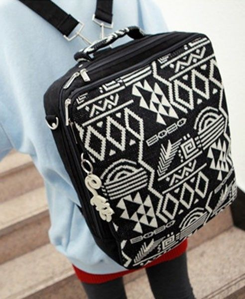 Multi-use Backpack with Knitted Front in Geometric Print