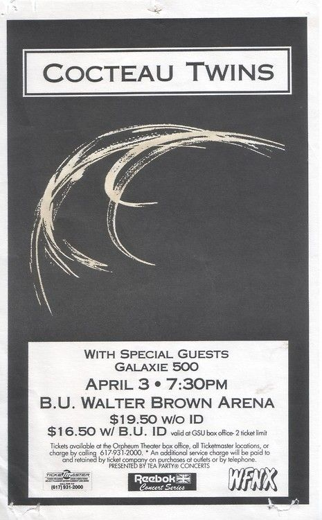 """rickwebb:  Cocteau Twins  Galaxie 500, 1991, Boston University. Galaxie 500's last show in Boston ever.   """