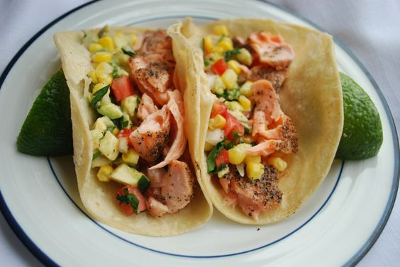 Tripp's Fish Tacos  Roasting the salmon is so simple, and the corn salsa adds so much texture and flavor. You'll never want tacos any other way!
