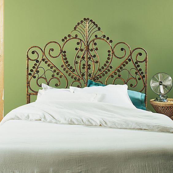 Style on pinterest - Tete de lit rotin blanc ...