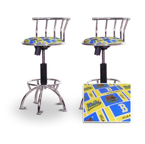 """2 24""""-29"""" UCLA Bruins Chrome Adjustable Specialty / Custom Barstools Set by The Furniture Cove. $198.88. 24"""" to 29"""" Adjustable Seat Height. Chrome Metal Finish. Swivel Seat. Back Rest and Foot Rest. US Marines Fabric Print Seat. These have a fitting appearance for a wide variety of places. They look and feel great, feature a UCLA Bruins upholstery, and are impressively versatile. The frame is made of metal making it a strong, heavy duty stool. The cushion is 14 inches wide ..."""