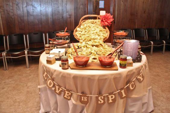 Salsa Tasting Table with salsas from Hillside Orchard Farms. salsa bar, salsa station tasting tables food stations food bar