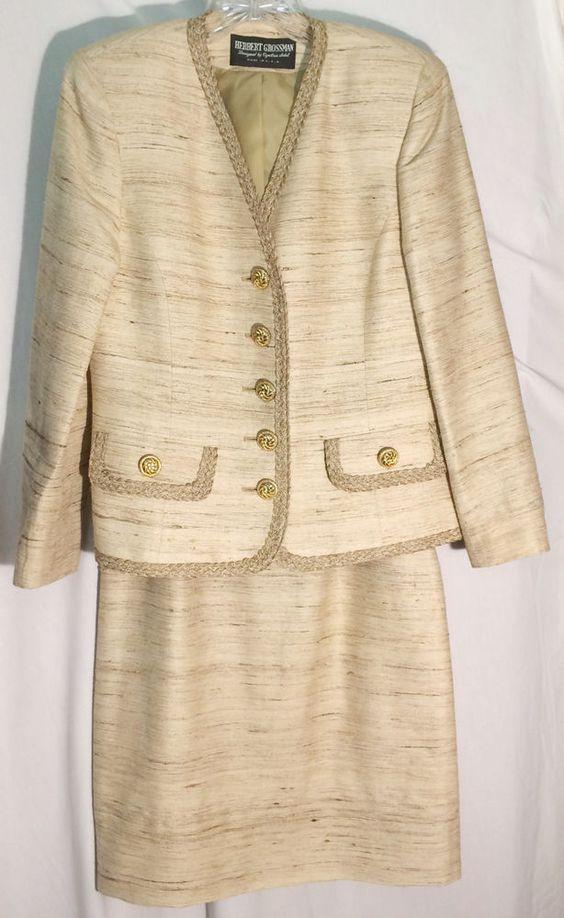 HERBERT GROSSMAN - NEIMAN MARCUS Tan 100% Silk Skirt Suit - Braid Trim - 6 #HerbertGrossmanforNeimanMarcus #SkirtSuit #herbert #grossman #neiman #marcus #tan #silk #skirt #suit #jacket #6