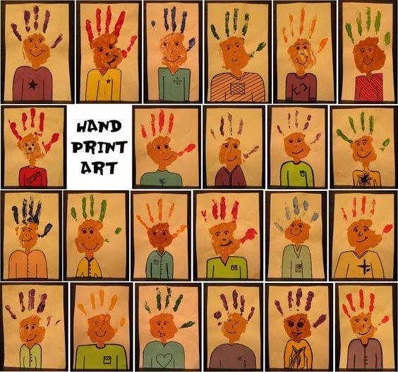 Room 6 - Halcombe School - 2012: Hand Print Art