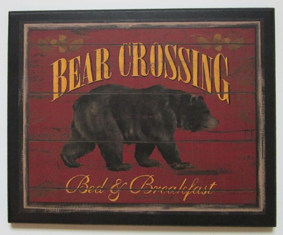 Bear Crossing Picture Rustic Lodge Style Wall Decor Country Log Cabin Sign New | eBay