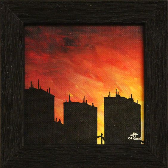Titre de l'œuvre : Urbanisation 2. Tableau fait sur commande. Tableau réalisé à la peinture acrylique (studio, pébéo) et Posca sur toile de coton (œuvre vernie). Format de la toile : 10,8 cm x 10,8 cm. Diagonale de la toile : 15,2 cm.Format de l'œuvre avec cadre : 13,5 cm x 13,5 cm x 1,5 cm. Diagonale de l'œuvre avec cadre : 19 cm.Format intérieur du cadre : 10 cm x 10 cm x 0,3 cm. Diagonale format d'intérieur du cadre : 14,1 cm.Poids (avec cadre) : 0,126 kg.Date de réalisation : 01/2016