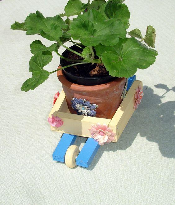 Small Decorative Spring Wheel Barrel - Garden Decor - Outdoor Spring Decor