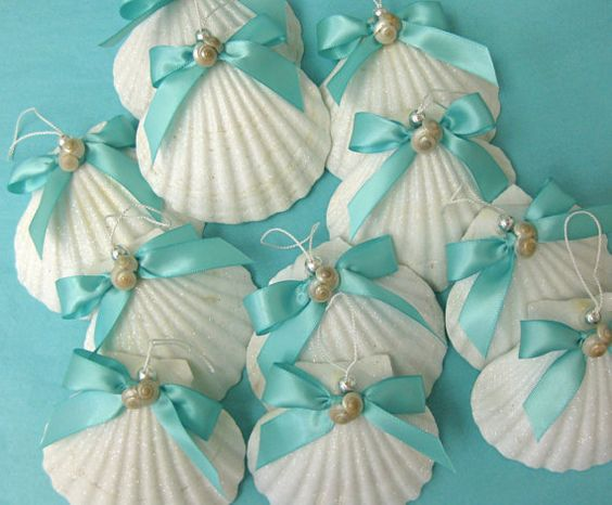 Beach Ornament - Large Glittered Shell Christmas Ornament - 3.5 - 4 in. - Choose from 5 Ribbon Colors