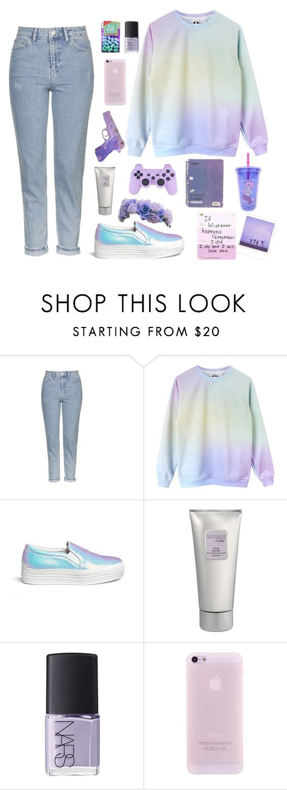 """Teen in pastel"" by metamorhaehnchen ❤ liked on Polyvore featuring Topshop, Joshua's, Laura Mercier, Love Quotes Scarves and NARS Cosmetics"