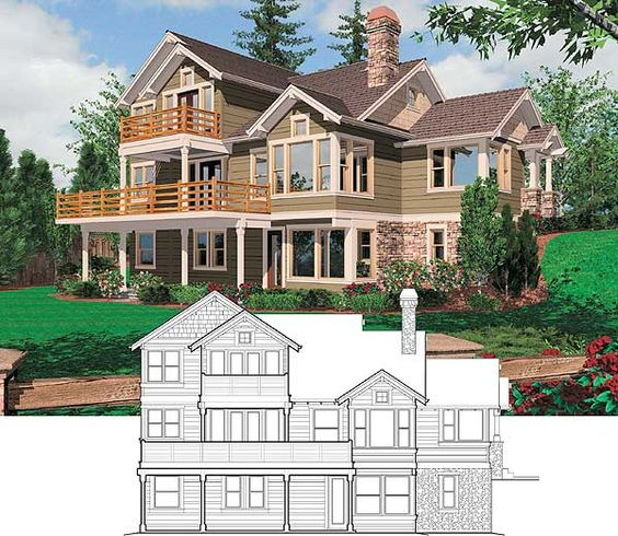 Sloping lot house plans craftsman house design plans for Sloped lot home designs