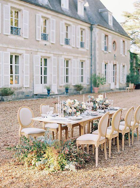 Elegant garden wedding venue at French chateau