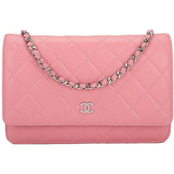 Preowned Chanel Blush Pink Lambskin Wallet On Chain (woc) ($2,875) ❤ liked on Polyvore featuring bags, chanel, handbags, pink, purses, lightweight crossbody bag, chain bag, chain crossbody bag and quilted cross body bag