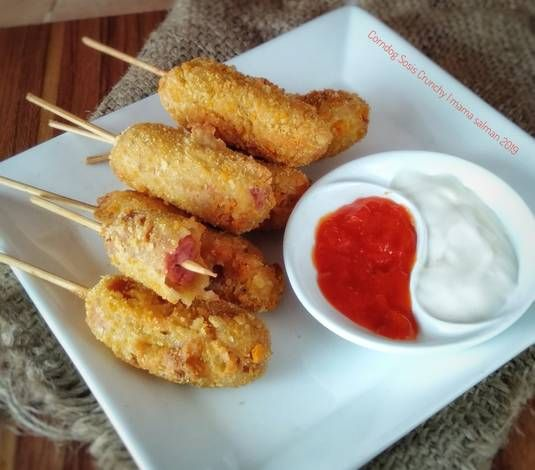Resep Corndog Sosis Crunchy Oleh Mama Salman Resep Corn Dogs Ide Makanan Makanan