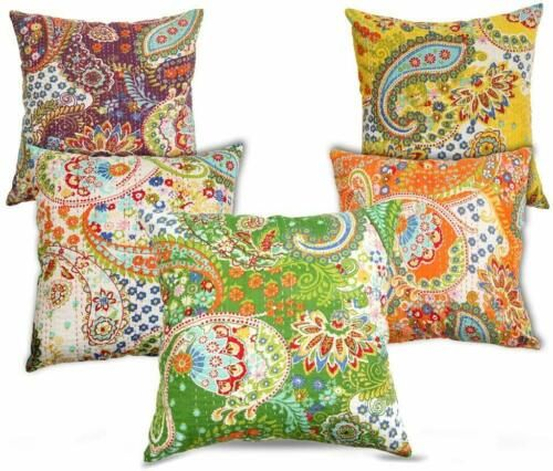 Details About Cotton Indian Paisley Kantha Handmade Pillow Case Sofa Decor Throw Cushion Cover In 2020 Handmade Pillows Handmade Pillowcases Kantha Work