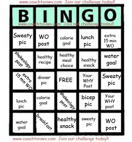 fitness challenges bingo and shakeology on pinterest