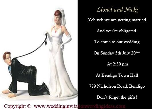 Funny Wedding Invitation From The Mother Of Groom