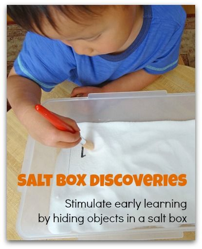 Salt box discoveries - Hide colors, shapes, numbers or letters in a salt box to help your children with learning || Gift of Curiosity