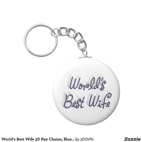 World's Best Wife 3D Key Chains, Blue-Gray