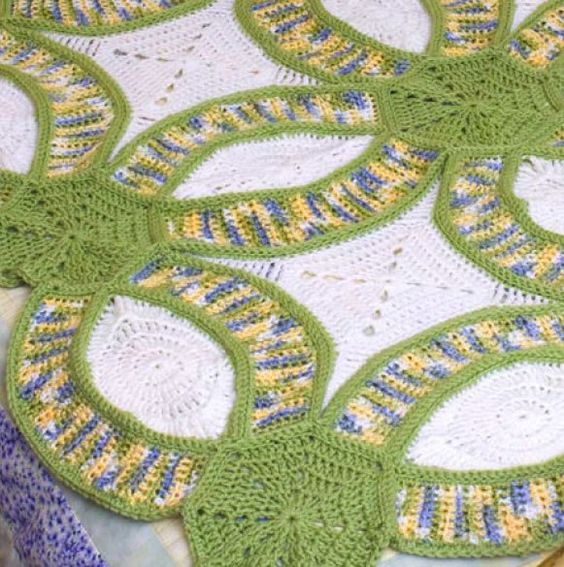 Free Crochet Pattern Wedding Afghan : How-To: Crochet Version of The Double Wedding Ring Quilt ...