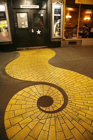 yellow brick road - neat look...know this is on a street, or inside a mall but I would like it in a home hallway or such.