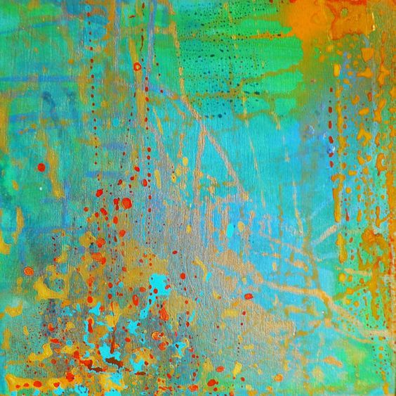 Original Abstract Painting with greens and golds by MadwithRapture