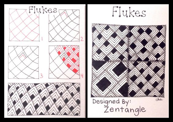 Showing The 6 Photos of zentangle patterns step by step