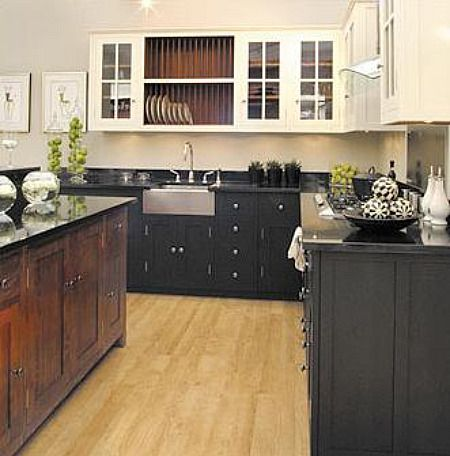 black base cabinets and white upper cabinets and wood island,Black Lower And White Upper Kitchen Cabinets,Kitchen decor