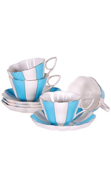 Blue& White stripe cup & saucer (ONE) - New