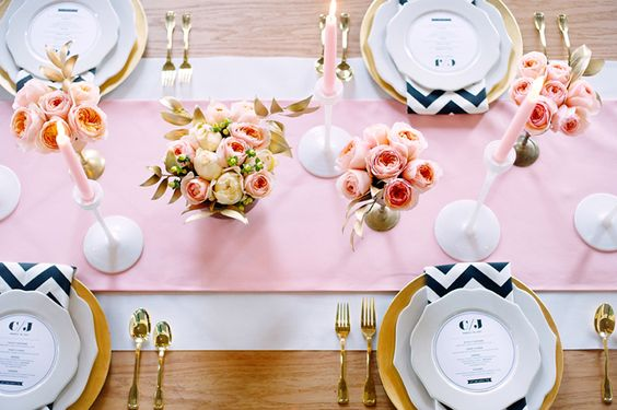pink, gold and black-white chevron for a little edge...would also pair perfectly with Mikasa's black-white-gold chevron plates {Confetti Pop}: