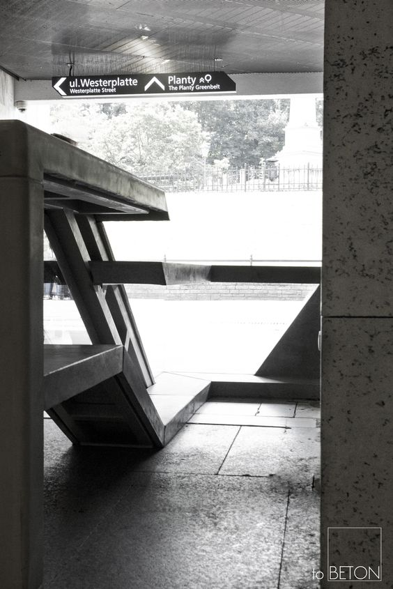 Concrete stands in Cracow - simple, modern and functional street furniture